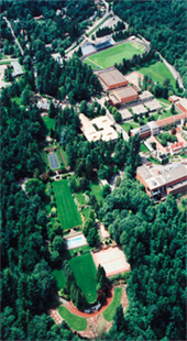 Aerial view of campus core in 1990