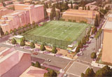 Aerial view of the parking structure and recreation fields