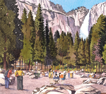 Resored promenade at Yosemite Lodge